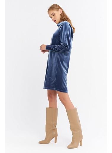 BGN Mavi - Kadife Mini Elbise Mavi